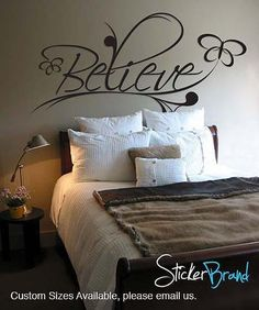 Vinyl Wall Decal Sticker Believe Spiritual Phrase via Etsy. Wall Decal Sticker, Vinyl Wall Decals, Wall Stickers, Bedroom Wall, Bedroom Decor, Bedroom Quotes, Wall Painting Decor, Interior Exterior, Textured Walls