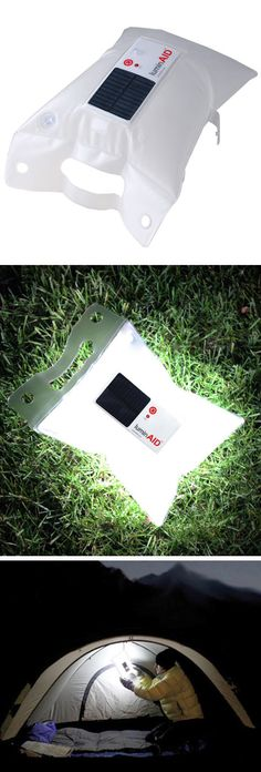 LuminAID Inflatable Solar Light - Fully charged after five hours in the sun, it provides eight hours of illumination in a highly portable, waterproof, floatable, and rechargeable LED light. Great for camping!