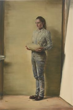 Michaël Borremans B. 1963 GIRL WITH DUCK signed, titled and dated 2011 on the reverse oil on canvas 310 by 205cm.; 122 by 80 3/4 in.