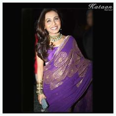 Mukherjee in a stunning purple saree Indian Dresses, Indian Outfits, Bollywood Hairstyles, Purple Saree, Rani Mukerji, Desi Clothes, Party Wear Sarees, Classic Elegance, Bollywood Stars