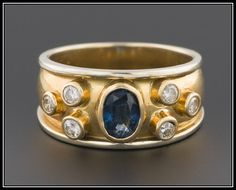 Vintage Natural Sapphire & Diamond Ring, 18k Gold Ring by TrademarkAntiques on Etsy https://www.etsy.com/listing/211589207/vintage-natural-sapphire-diamond-ring