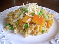 Butternut Squash Brown Rice Risotto. Made with butter substitute, olive oil, shallot, instant brown rice, butternut squash, vegetable stock, frozen peas, salt, and pepper.