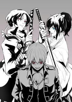 Gintama: Okita Sougo x Touken Ranbu: Yamatonokami Yasusada, Kashuu Kiyomitsu , Touken Ranbu, Okikagu, Anime Crossover, Comic Games, Manga Drawing, Anime Comics, Vocaloid, Anime Guys, Sword