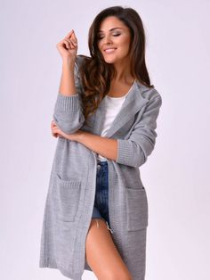 Dámsky kardigán MERYL šedý Sweaters, Dresses, Fashion, Vestidos, Moda, Fashion Styles, Sweater, Dress, Fashion Illustrations