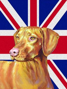 Vizsla with English Union Jack British Flag Flag Canvas House Size LH9477CHF