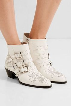 Chloé - Susanna Studded Leather Ankle Boots - White - IT41.5