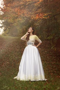 Yellow-white princess dress with embroidery by AtelierDeCoutureJK