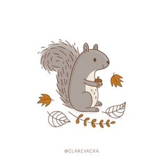 October 17 // Leaves (from yesterday)  Spent the morning in Greenwich Park. Loving watching how busy the squirrels are at this time of year! #365doodleswithjohannafritz #squirrel #greenwichpark #leaves #doodlechallenge #autumn #clarevacha