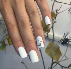 "If you're unfamiliar with nail trends and you hear the words ""coffin nails,"" what comes to mind? It's not nails with coffins drawn on them. Although, that would be a cute look for Halloween. It's long nails with a square tip, and the look has. White Nail Art, White Nails, Subtle Nail Art, Blue Nail, Minimalist Nail Art, Nail Art Diy, Diy Nails, Nail Art Ideas, Simple Nail Art Designs"