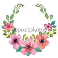 flower wreath watercolor - Google Search