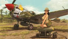 Curtiss P-40N Warhawk by Romain Hugault