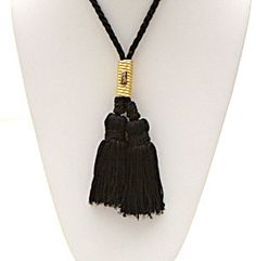 YSL Yves Saint Laurent Silk Necklace With Tassels by Jemznjewels, $200.00