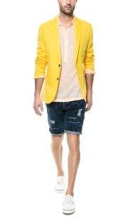 Zara Coloured Circular Blazer in Yellow for Men