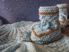 Magia do Crochet: Conjunto em tricot para recém nascido