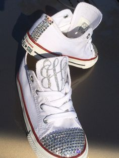 Glass Rhinestone Monogram Converse on Etsy, $90.00