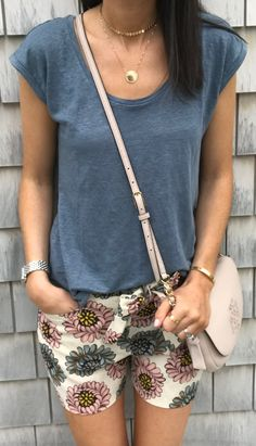 #summer #outfits  Grey Tee + Floral Short