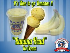 """Get your head in the game with """"Banana Head"""" #icecream or #italianice. Makes a delicious #Milkshake too! #banana"""