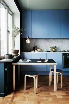 powder blue modern cabinets.
