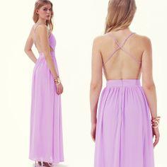 Purple Spaghetti Strap Backless Full Length Dress