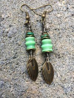 Boho Earrings Hippie Earrings Green Earrings by BeachBohoJewelry