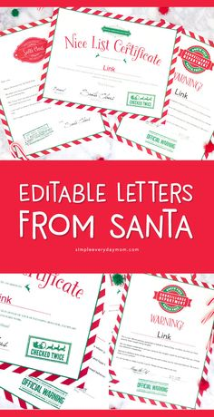 Use These Editable Letters From Santa For A Magical Christmas Printable Letters From Santa To Kids Free Printable Santa Letters, Free Letters From Santa, Personalized Letters From Santa, Santa Letter Template, Letters For Kids, Naughty Or Nice List, Santa's Nice List, Naughty Kids, Christmas Activities For Kids