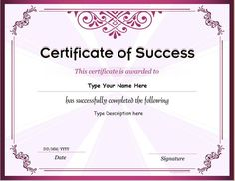 Certificate of Success DOWNLOAD at http://certificatesinn.com/business-certificates/