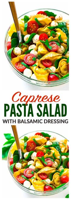 Caprese Pasta Salad with balsamic, tortellini, and fresh basil. The perfect combination of flavors. A fresh and healthy cold pasta salad that's great for summer appetizers, sides, and light dinners. E (Pasta Recipes For Dinner) Easy Salad Recipes, Easy Salads, Healthy Recipes, Cold Pasta Salads, Cold Pasta Recipes, Healthy Dinners, Salmon Recipes, Best Appetizers, Vegetarian