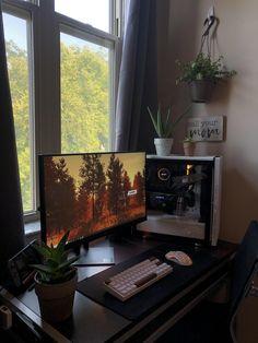 Gamer Setup, Gaming Room Setup, Pc Setup, Bedroom Setup, Room Ideas Bedroom, Computer Desk Setup, Video Game Rooms, Home Office Setup, Game Room Design