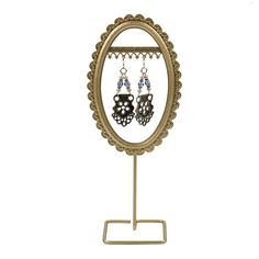SALE Royal Crown Frame Collection Gold Oval Earring Display Closeout - You oughta be in pictures! Use this unique display to frame one of your masterpiece earring designs or to highlight a collection of two or three pairs of earrings. Held on a slim wire stand and base, the frame is raised high enough to ensure an eye-catching presentation in any arrangement. This display features finely detailed steel moldings and a durable baked finish.