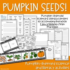Pumpkin themed science and literacy activities to accompany the book I am a Seed by Jean Marzollo