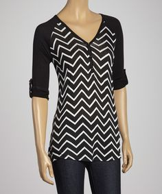 $18.50 Faith and Joy Black & White Zigzag Henley Top on zulily 12 dec