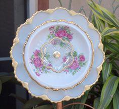 Glass Plate Flower No-Kill Ever-Blooming garden art ooak repurpose vintage egg plate pink roses