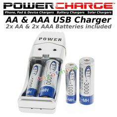 PowerCharge 2x 3A AAA 1000mAh 1.2 V Ni-MH BTY Rechargeable Battery Cell + AA/AAA #BTY