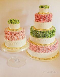 Green and pink wedding cake