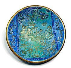 Amazon.com: Moroccan Wedding Ring Dish Blue Bird- Handmade Jewelry Holder-Wedding Gift- Polymer Clay Dish- Home Decor- Gifts for Her: Handmade