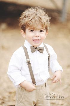 Brown Heather polyester little boy bow tie and suspenders