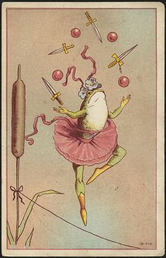 "weirdvintage: "" ""Wheeler & Wilson's High-Arm New Number Nine is the only perfect sewing machine for family use""—what that has to do with a tightrope-walking frog juggling swords and balls is beyond. Art Inspo, Kunst Inspo, Inspiration Art, Frosch Illustration, Art Et Illustration, Illustrations, Weird Vintage, Art Vintage, Vintage Sewing"