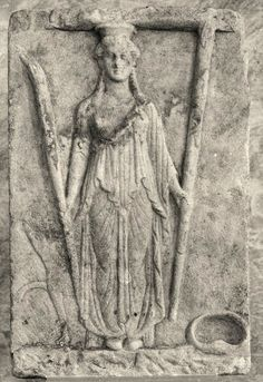 """Hekate Einodia, Trioditis, lovely dame, of earthly, watery, and celestial frame, sepulchral, in a saffron veil arrayed, pleased with dark ghosts that wander through the shade;  Perseis, solitary goddess, hail!"" (Orphic Hymn 1 to Hekate; Hekate sculpture from Athens, National Archaelogical Museum)"