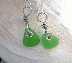 Sea Glass Earrings Kelly Green Dangling Irish Green by WaveofLife