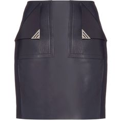 Mugler Front-pocket leather mini skirt (11.189.775 VND) found on Polyvore featuring women's fashion, skirts, mini skirts, navy, leather miniskirt, blue leather skirt, navy blue leather skirt, short mini skirts and thierry mugler