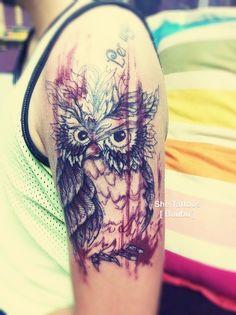 Owl watercolor tattoo by Buubu