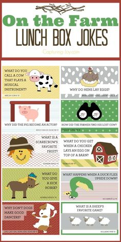 On the Farm free printable Lunch Box Jokes - Capturing Joy with Kristen Duke - Funny jokes The Farm, Funny Jokes For Kids, Kid Jokes, Baby Jokes, Silly Jokes, Jokes And Riddles, Free Jokes, Lunch Box Notes, Kids And Parenting