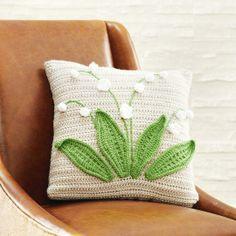 Vanna's Choice® Spring Organic: Lily of the Valley Pillow (Crochet) free pattern Diy Crochet Patterns, Crochet Diy, Crochet Motifs, Crochet Home Decor, Crochet Doilies, Crochet Puff Flower, Crochet Leaves, Crochet Flowers, Crochet Cushion Cover