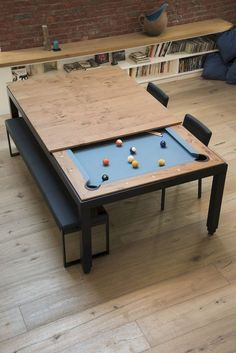 11 Inspiring Luxury Game Room Ideas Decoration - Page 9 of 13 Design Lounge, Game Room Design, Small Room Design, Dining Room Design, Pool Table Dining Table, Pool Table Room, Small Pool Table, Pool Tables, Diy Pool Table