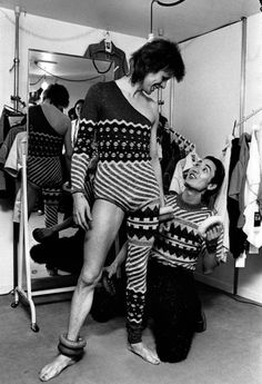 David Bowie with Japanese fashion designer Kansai Yamamoto in April 1973.