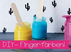 Fingerfarben schnell und einfach selber machen   Bunte Fingerfarbe ganz schnell und einfach selber machen, mit nur vier Zutaten!
