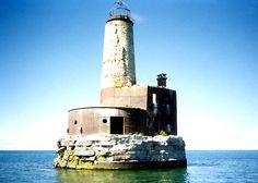Waugoshance Shoal Lighthouse. Built 1851, abandoned 1910.