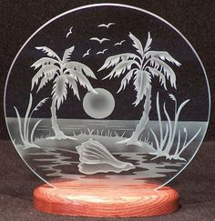 Carved Glass Tropical Island 9 in. Circle in Handcrafted Wooden Base Palm Tree Island, Glass Engraving, Glass Etching, Glass Design, Beveled Glass, Mosaic Glass, Glass Art, Dremel, Wood Crafts