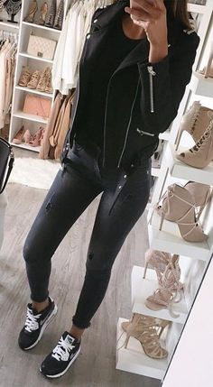 #fall #outfits ·  Leather Jacket // Ripped Skinny Jeans // Black Top // Sneakers