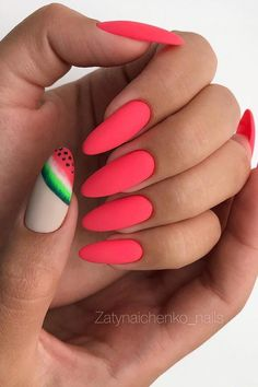 Matte Watermelon Nail Design #summernails #watermelonnails #AcrylicNailsStiletto Tropical Nail Designs, Long Nail Designs, Colorful Nail Designs, Acrylic Nail Designs, Nail Art Designs, Nails Design, Bright Summer Acrylic Nails, Cute Summer Nails, Cute Nails